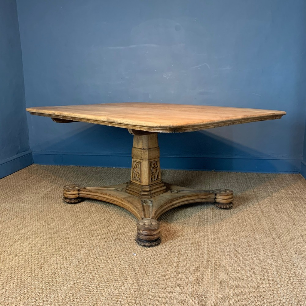a large george iv dry oak centre table circa 1830 in the gothic style