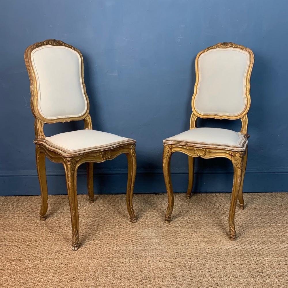 a pair of louis xvi style gilt side chairs circa 1870