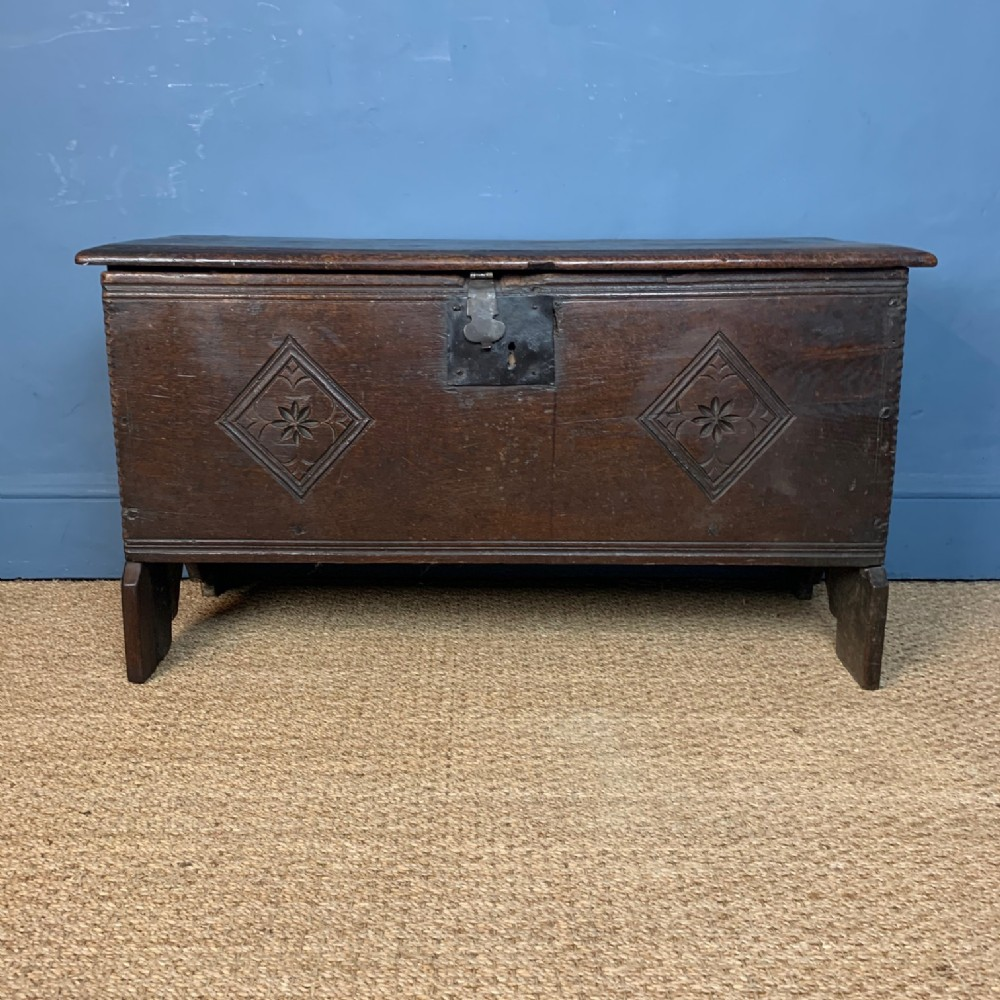 a small mid 17th c west country oak coffer circa 1670
