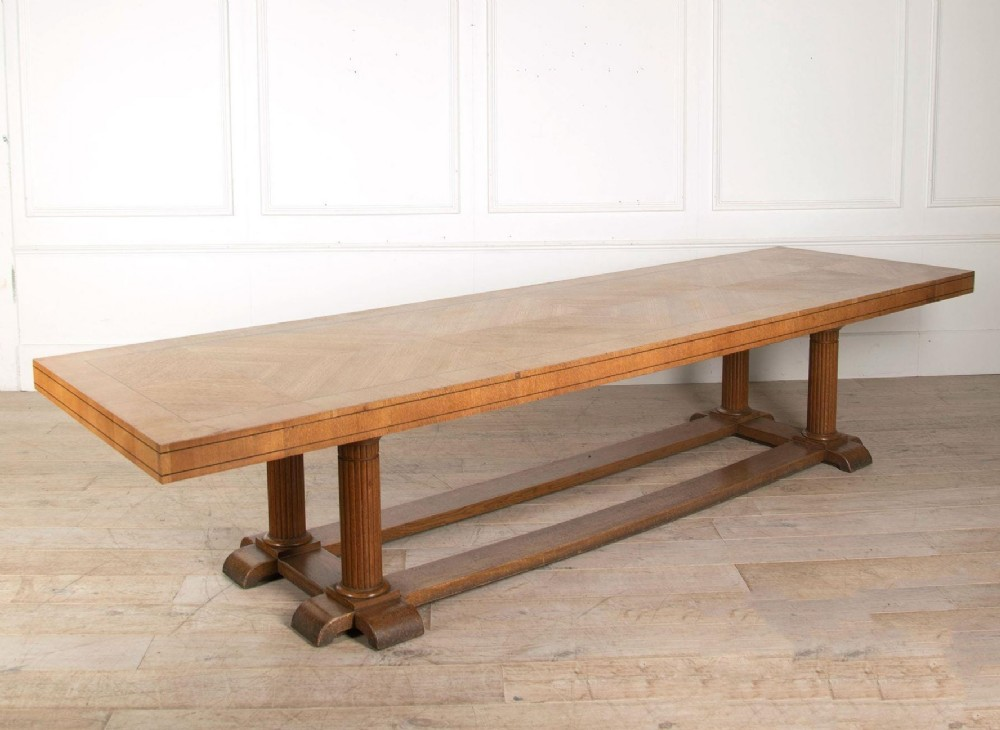 a huge arts and crafts oak refectory table by sir frank brangwyn circa 1925