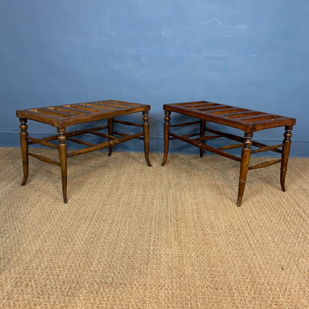 a large pair of victorian aesthetic movement beech luggage racks circa 1890