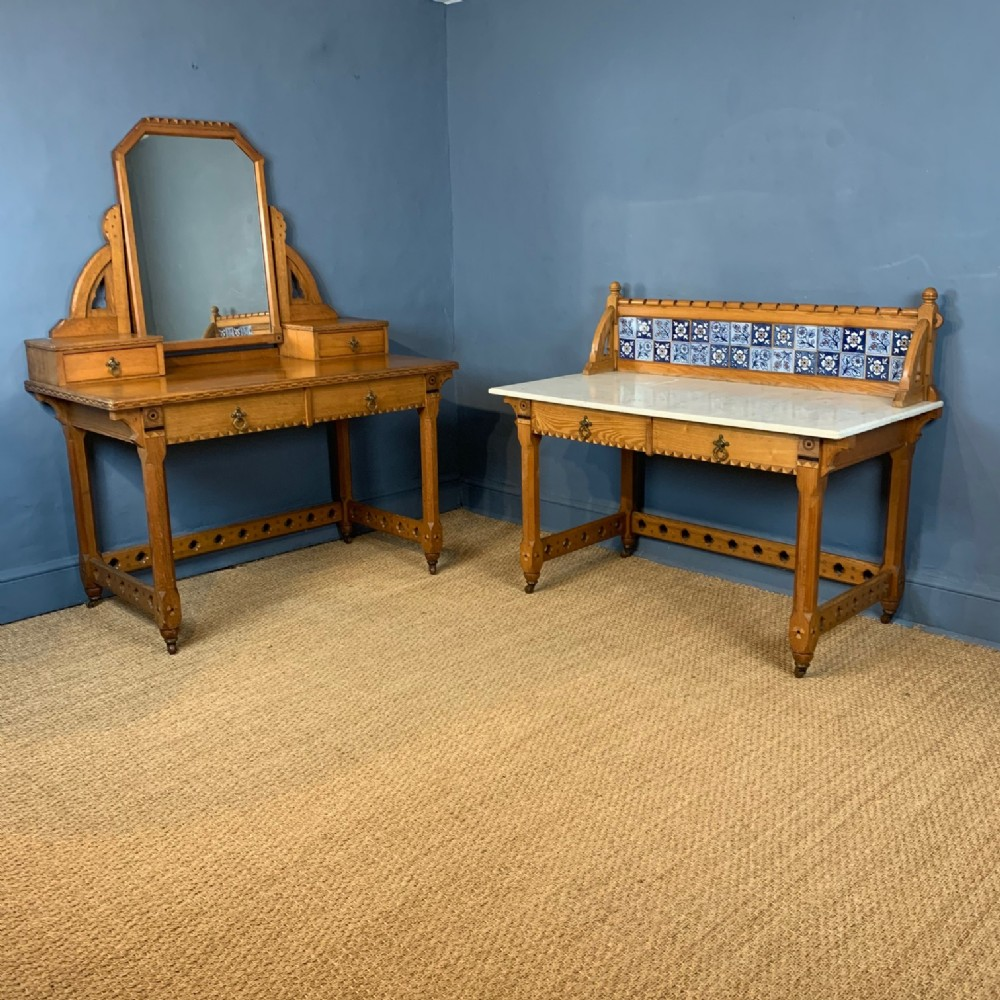 a gothic reform ash and marquetry bedroom pair circa 1865 in the style of charles bevan