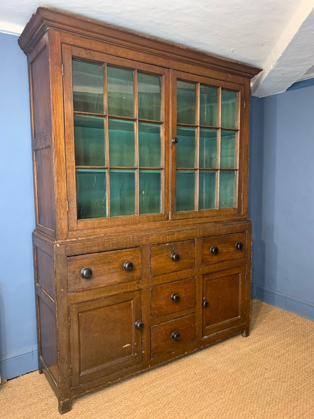 a mid 19th century cornish glazed dresser circa 1850
