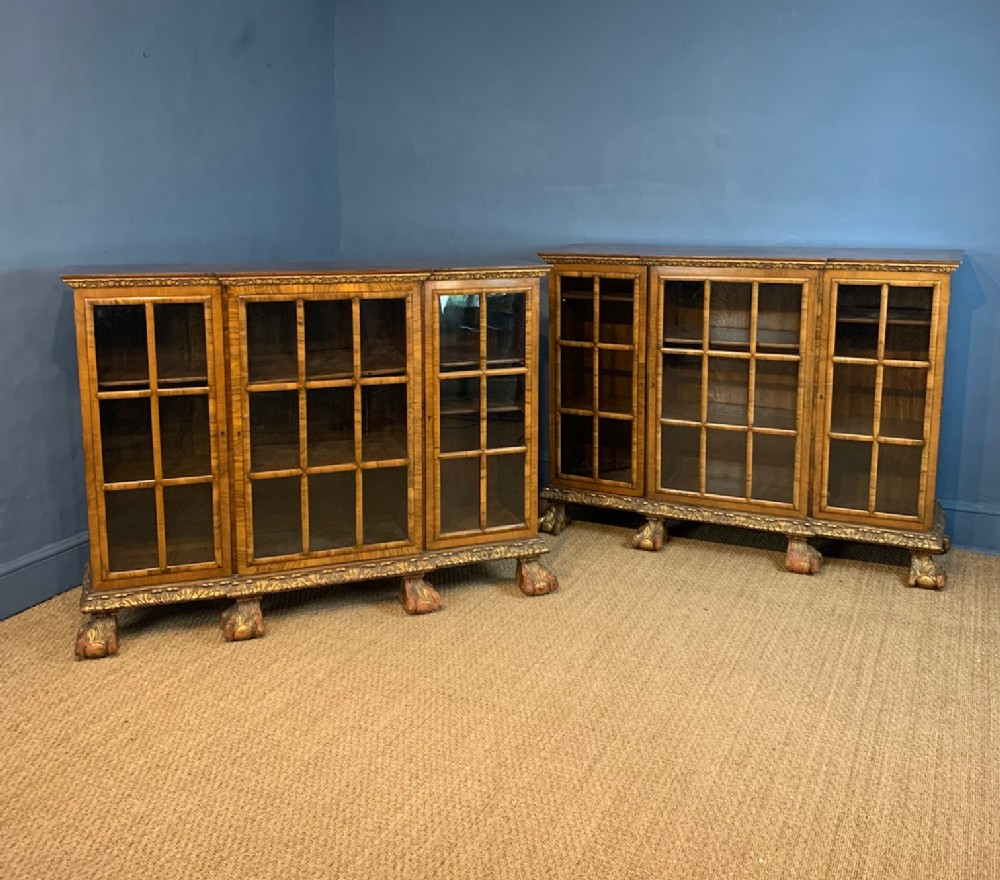 a fine pair of george 1 style walnut and parcel gilt breakfront side cabinets