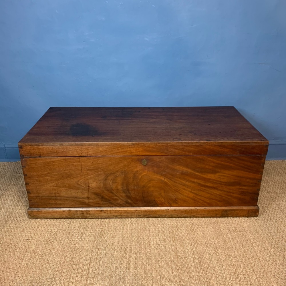 a very large mid 19th c mahogany trunk circa 1840