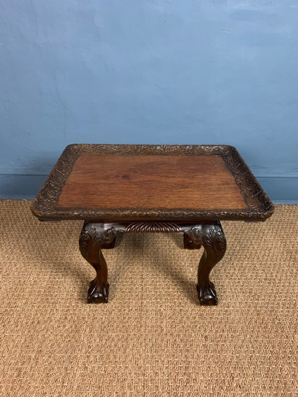 an indian carved teak tray top table bombay circa 1910