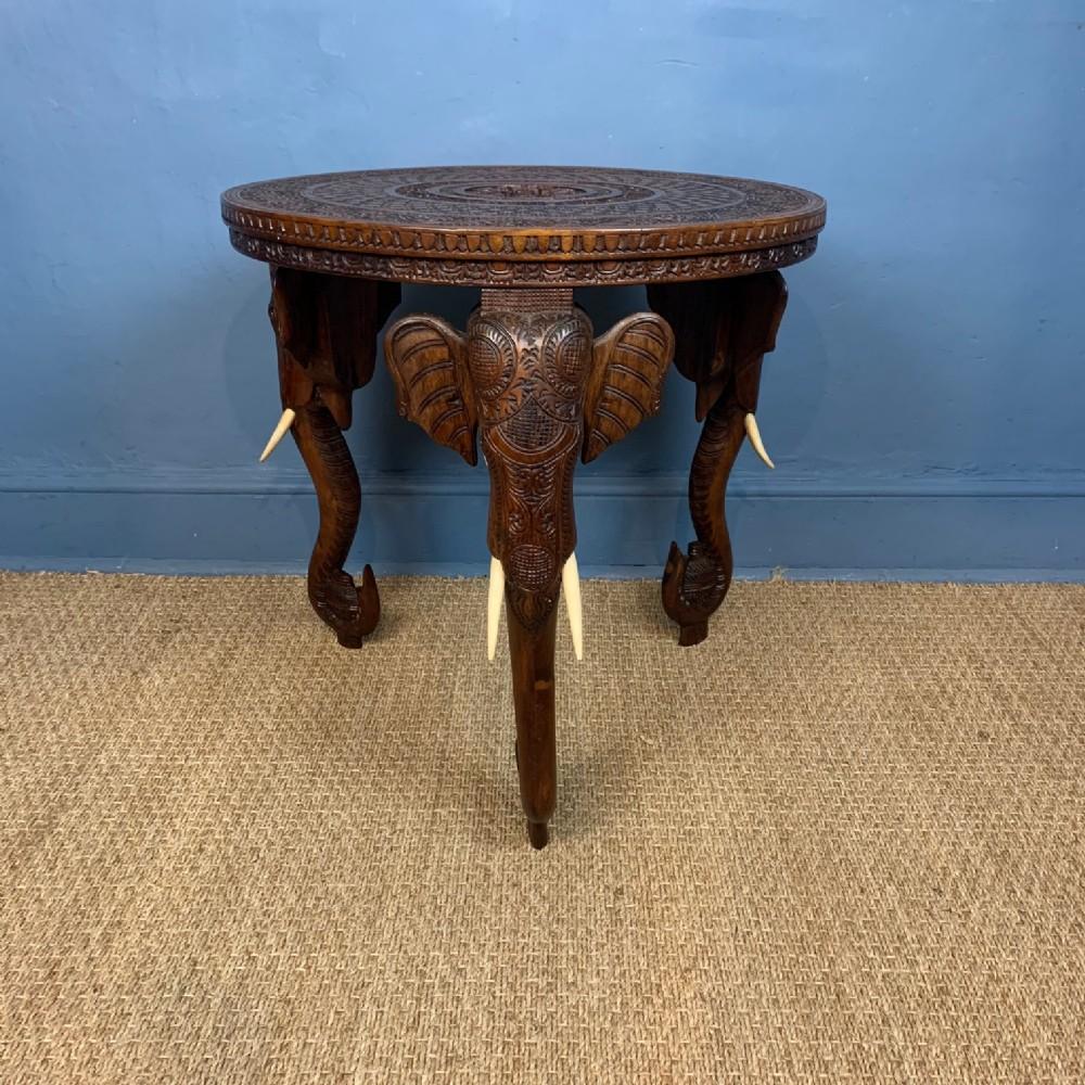an angloindian burmese teak elephant table circa 1890