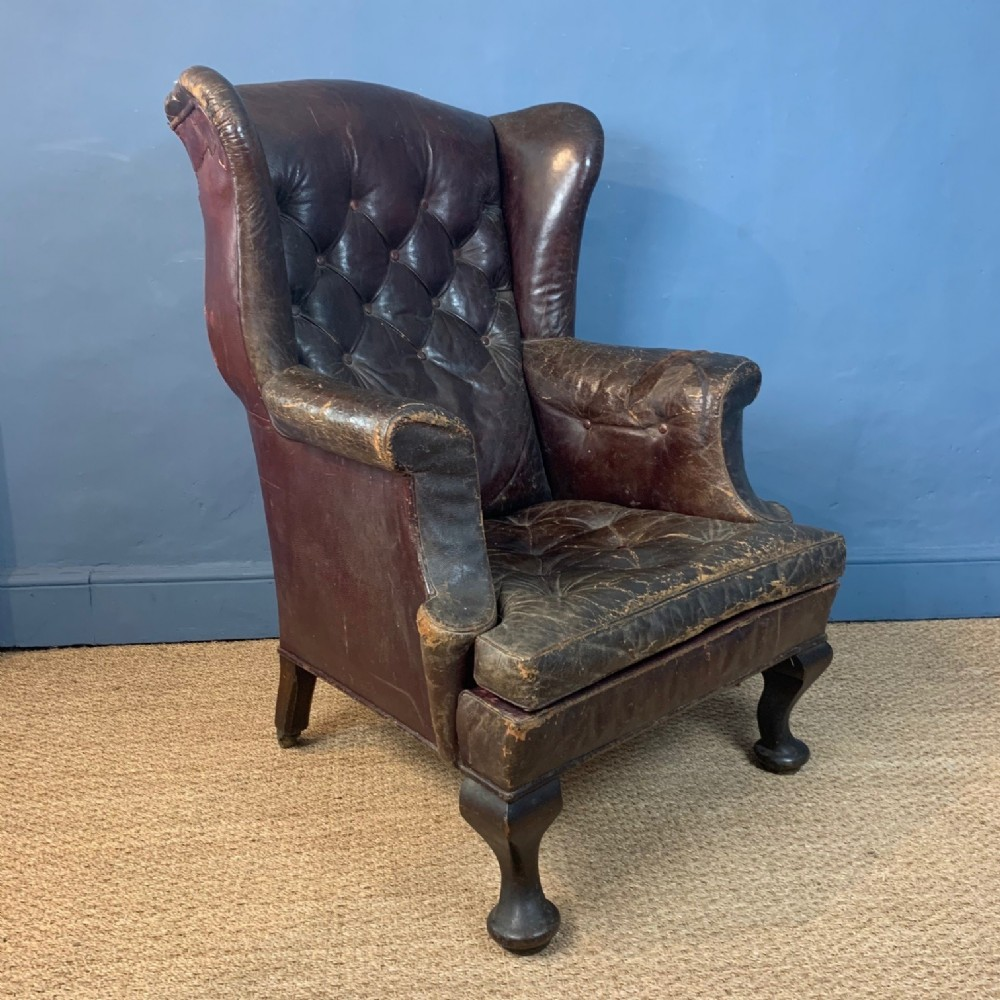 a late victorian leather wing armchair c 1890