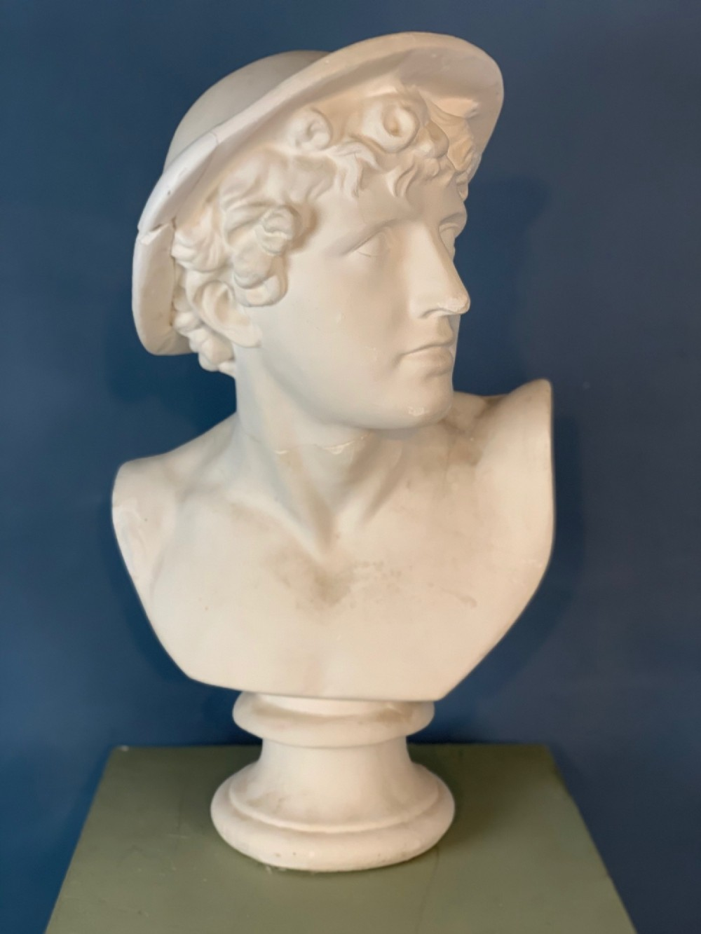 a late 19th c plaster bust of mercury after the antique c 1900