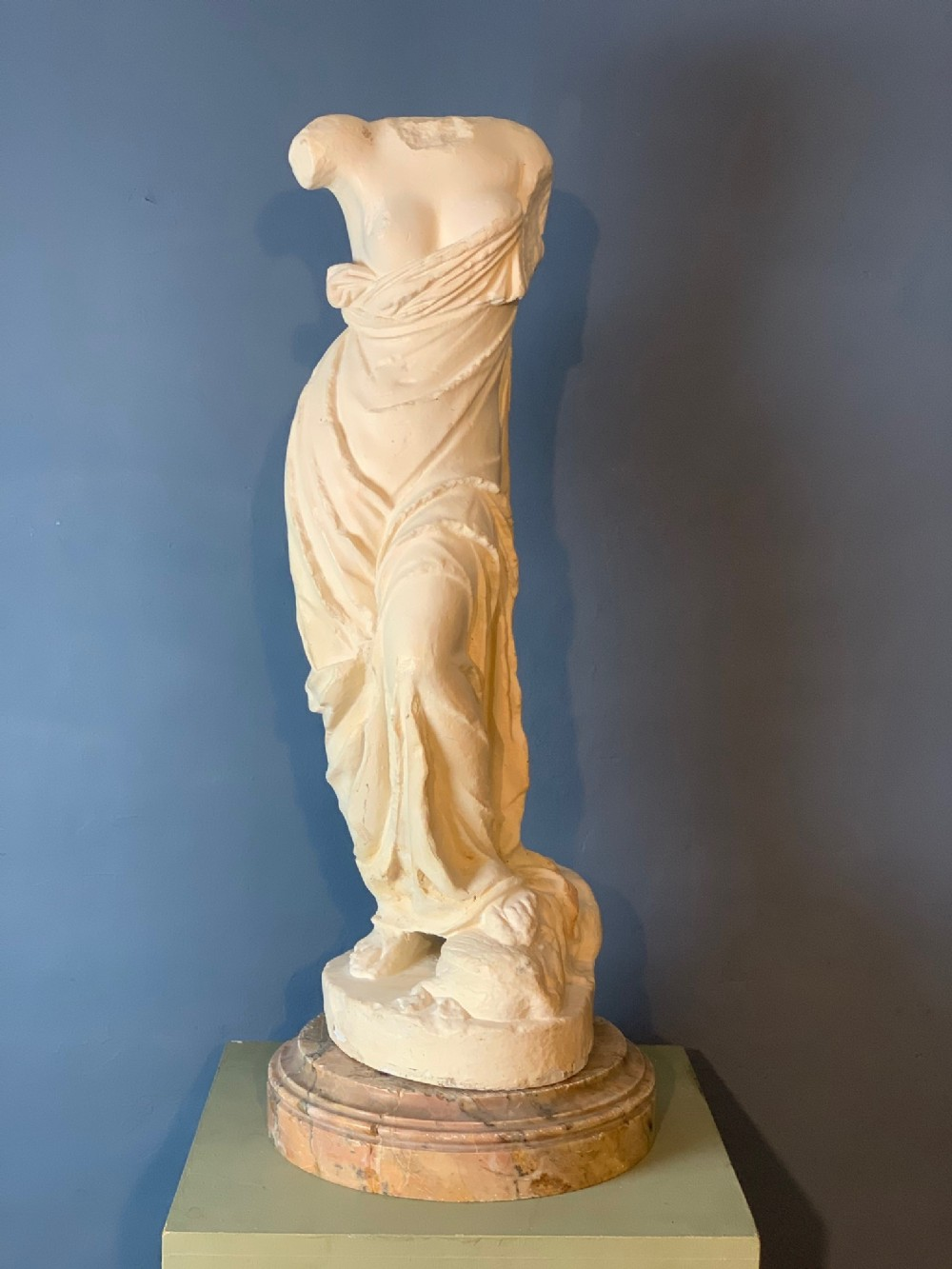 a large late 19th c italian plaster sculpture of aphrodite c 1890 on marble socle