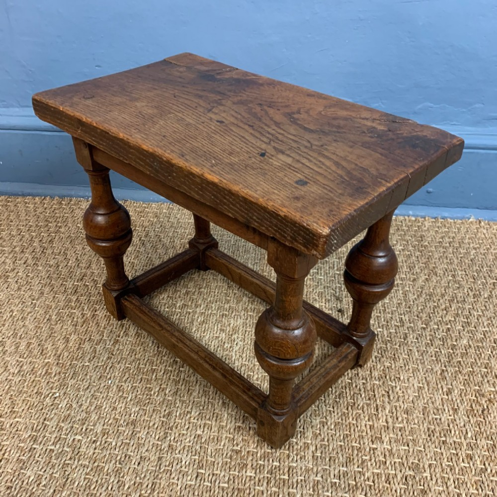 a late 19th c oak stool c 1890 in william and mary style
