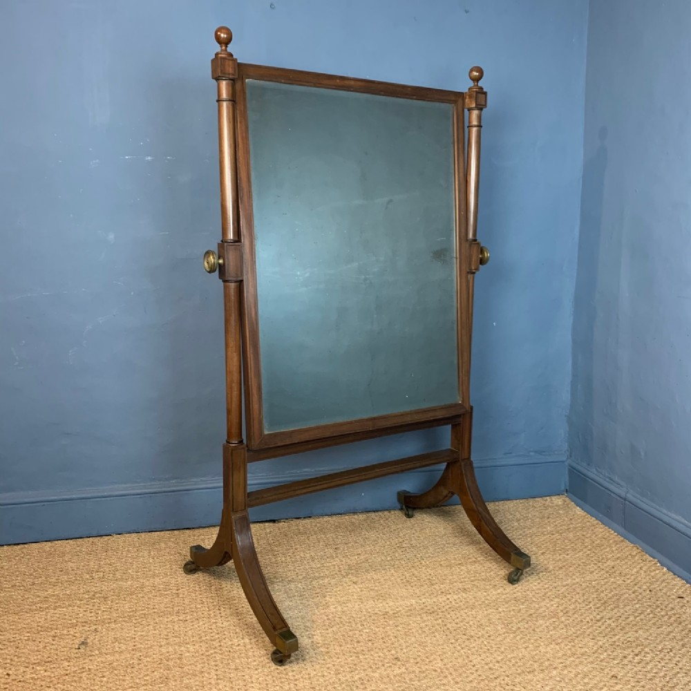 a regency mahogany and ebony strung cheval mirror circa 1815
