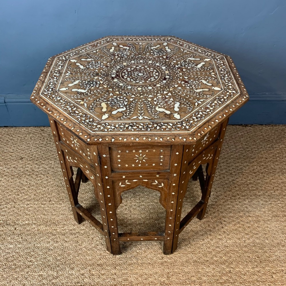 a hoshiarpur bone inlaid shisham wood octagonal table northern india circa 1890