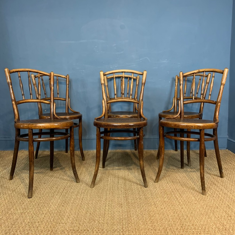 a set of 6 austrian bentwood cafe chairs circa 1900 by kohn of vienna