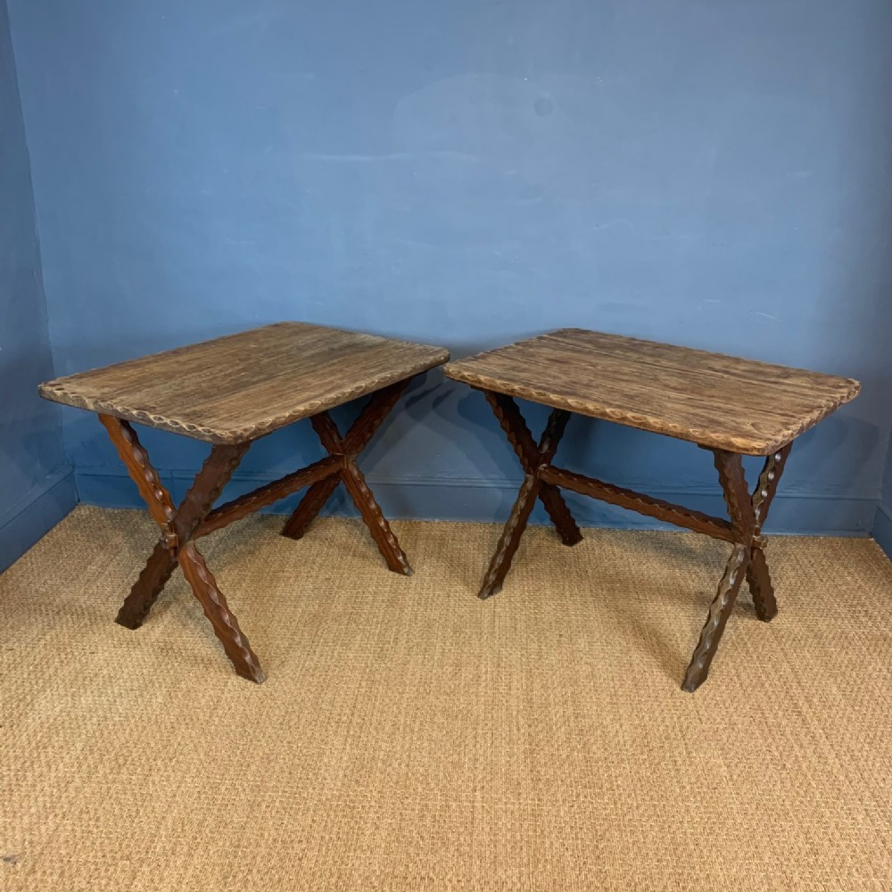 a rare pair of west country iroko x frame tavern tables circa 1890