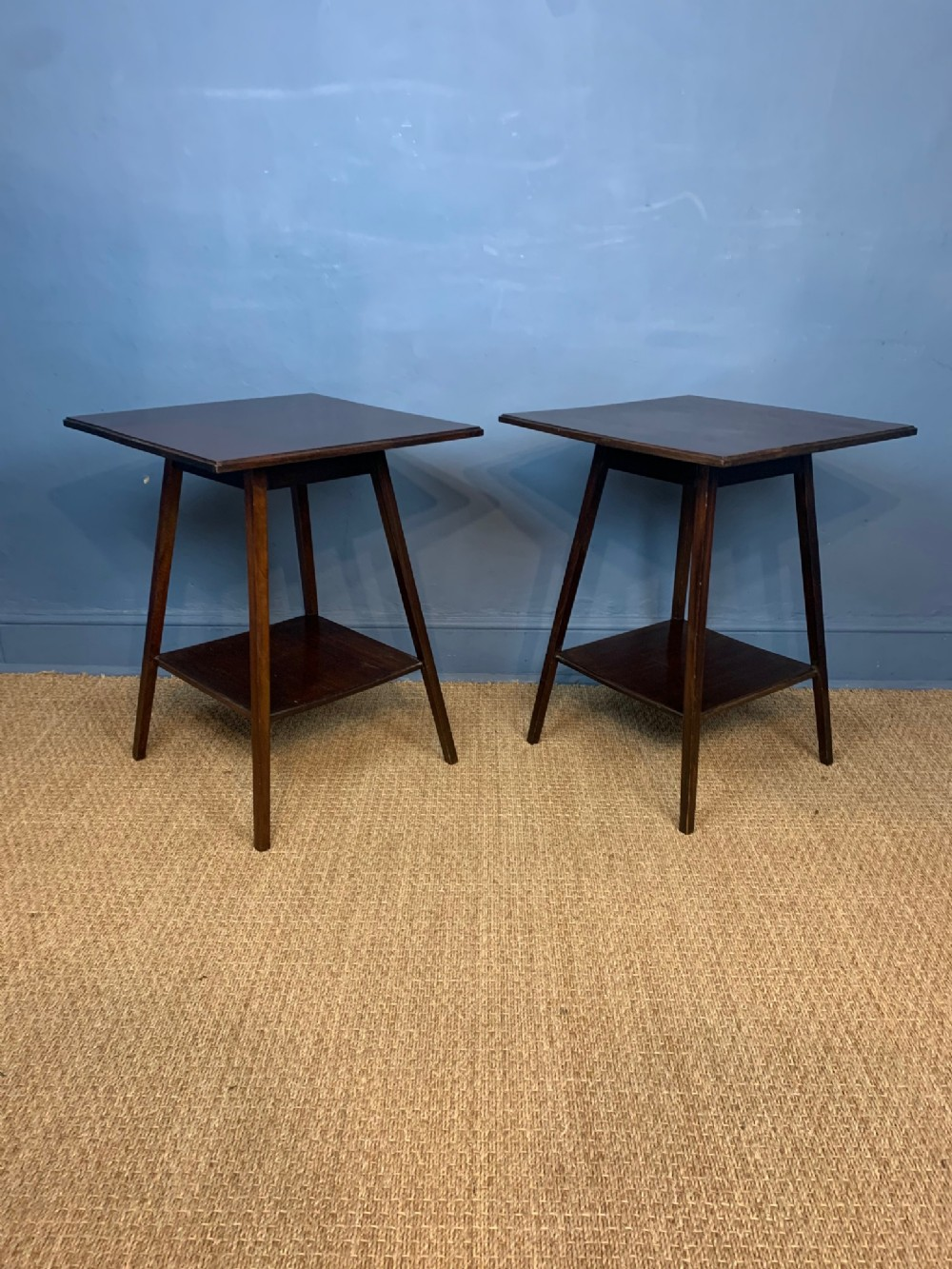 a pair of aesthetic movement mahogany 2 tier tables circa 1890