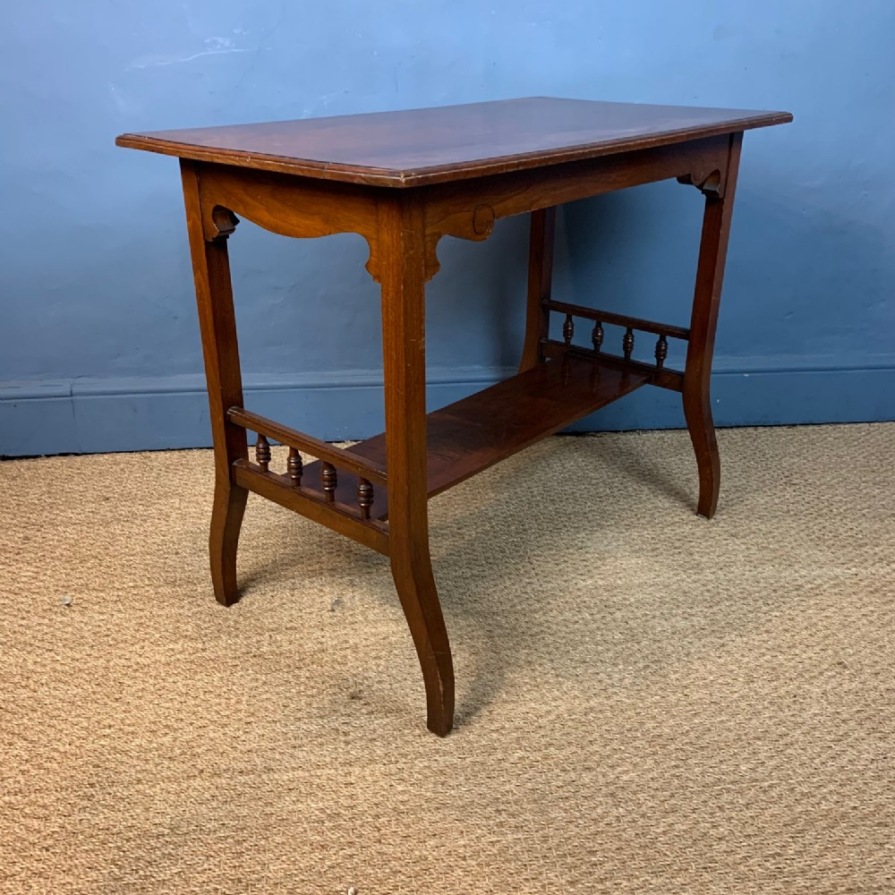 an aesthetic movement walnut 2 tier side table circa 1890