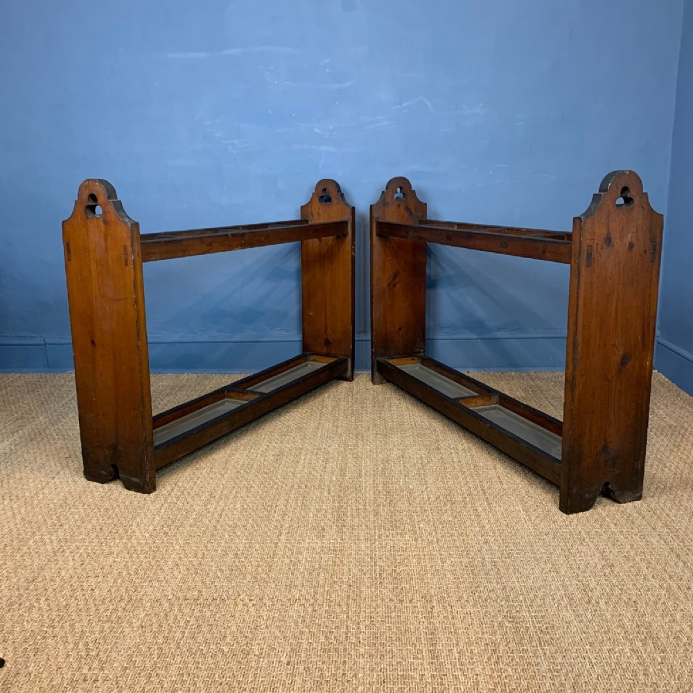 a pair of victorian gothic pine stick stands circa 1890