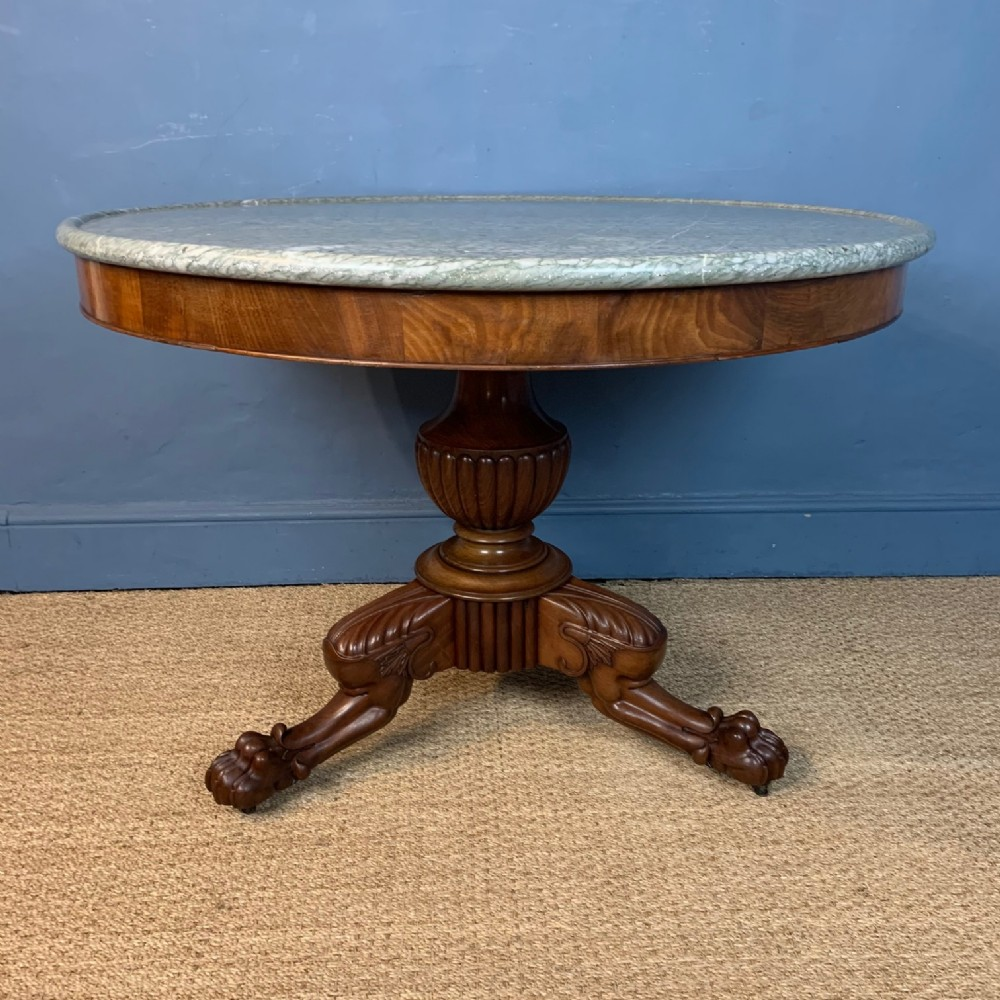 a charles x mahogany and pale green marble top centre table circa 1830
