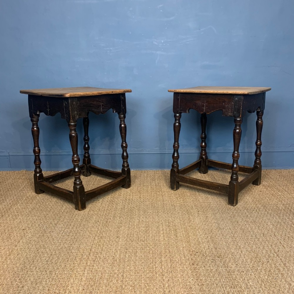 an unusual pair of 19thcentury oak occasional tables in charles 11 style