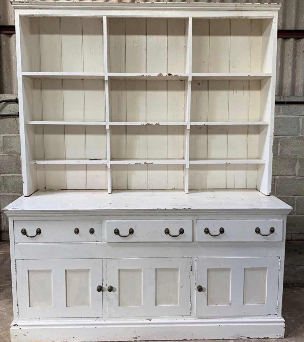 a large mid 19th century painted pine country house dresser
