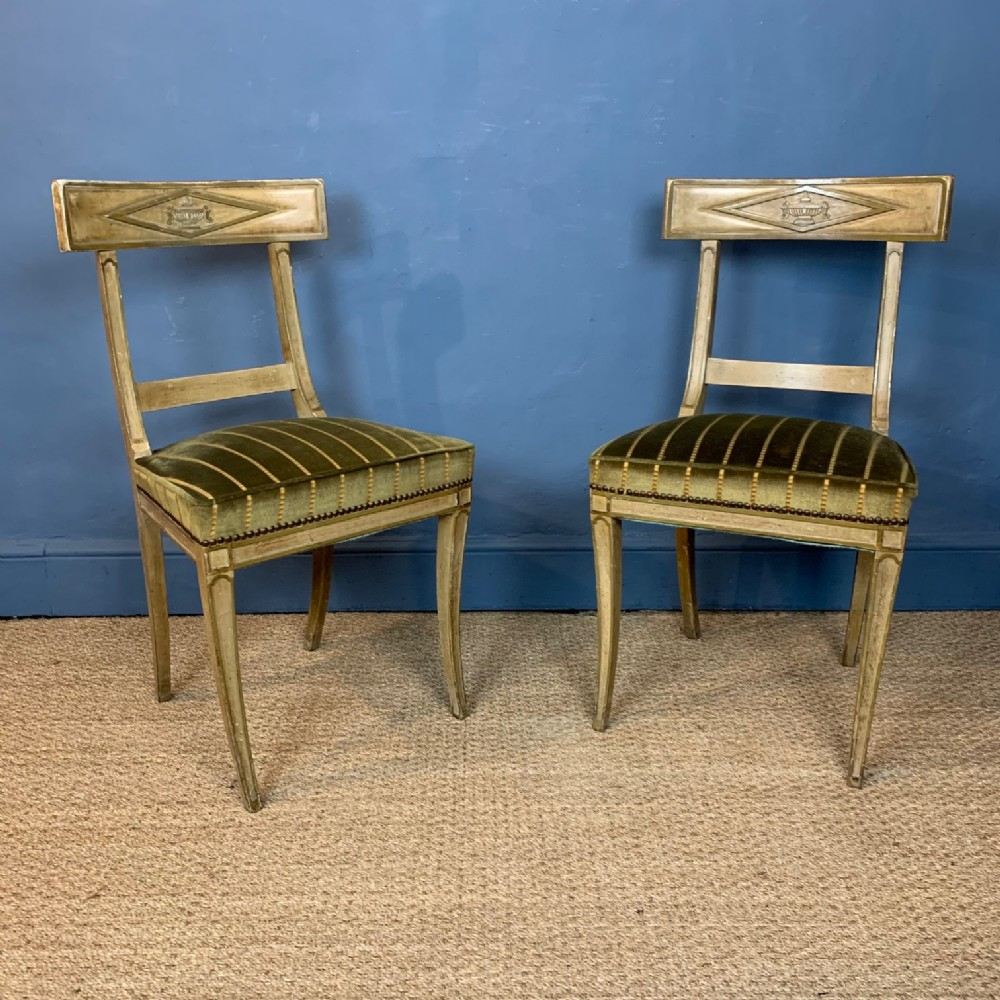 a pair of french directoire painted side chairs circa 1800