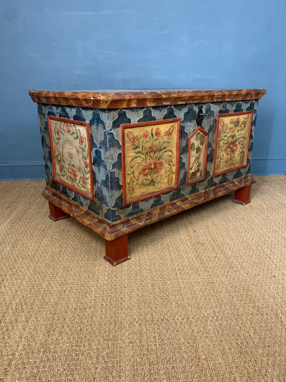 a 19th c tyrolean painted marriage coffer dated 1891