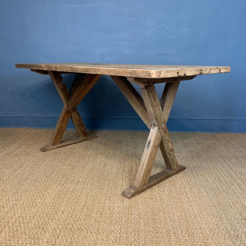 a late 19th c pine x frame tavern table circa 1900