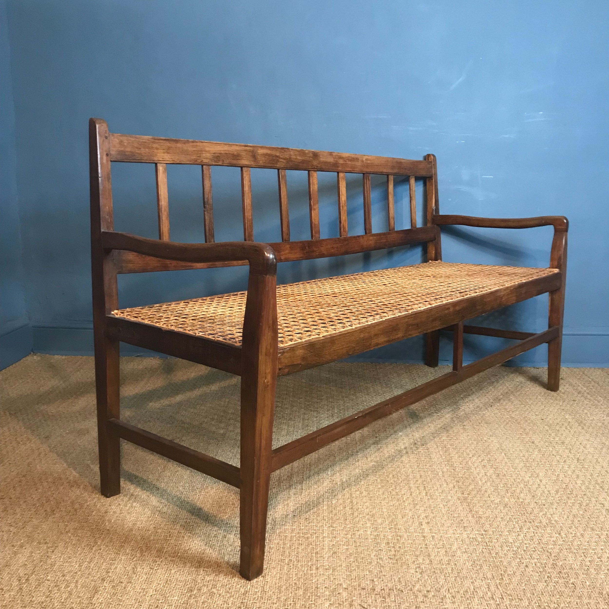 a south african stink wood and rattan seated sofa circa 1910 in excellent solid condition