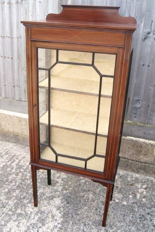 edwardian mahogany inlaid small display cabinet & Edwardian Mahogany u0026 Inlaid Small Display Cabinet | 86504 ...