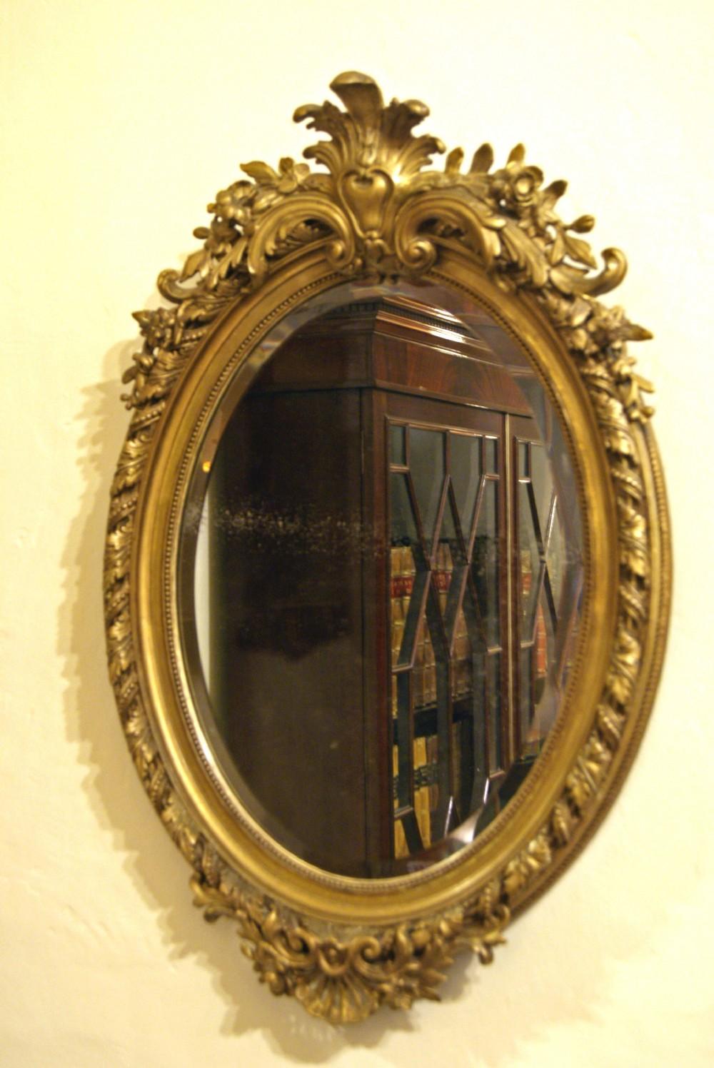 Victorian Gilt Wood Framed Oval Mirror 256343