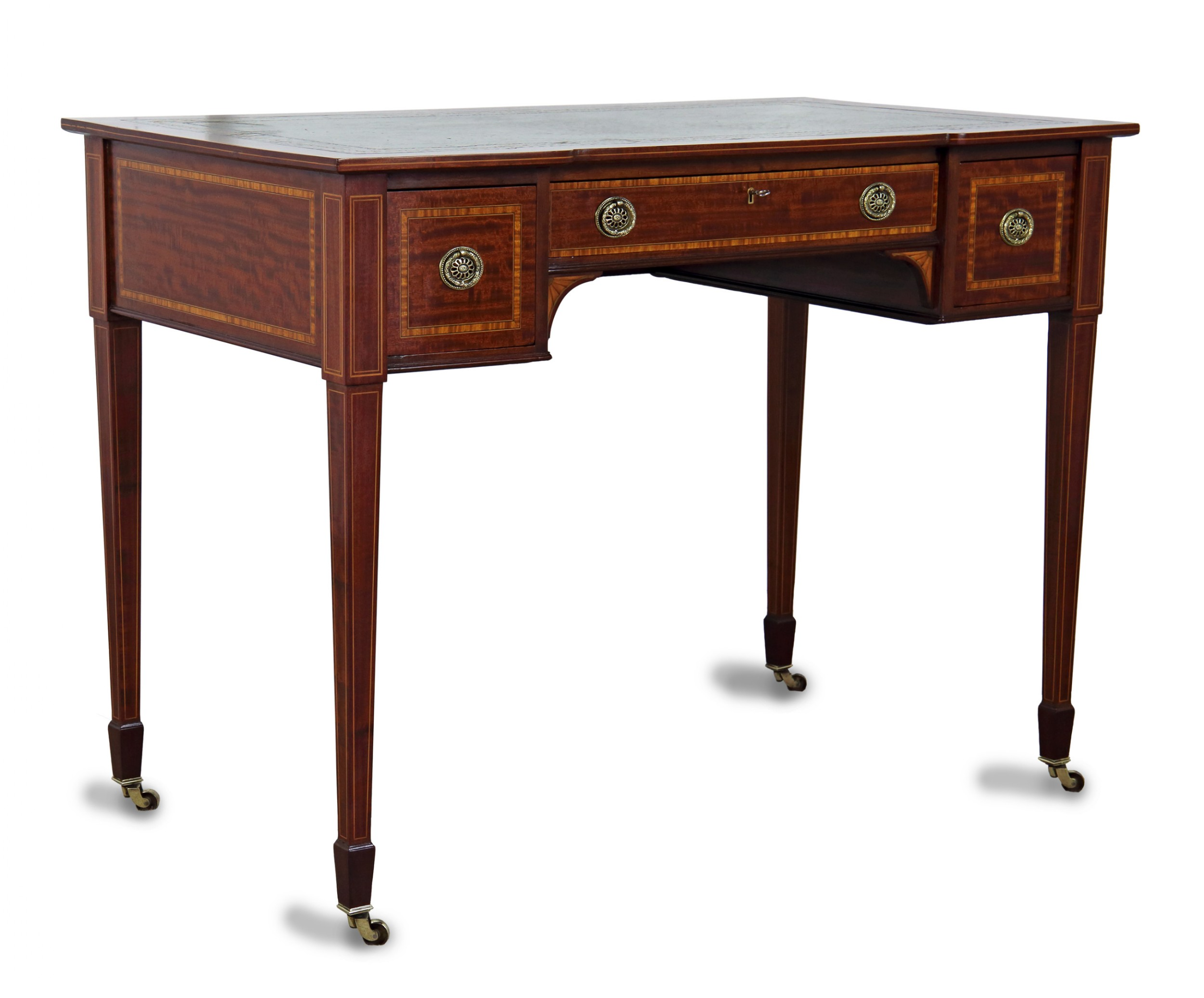 edwardian mahogany inlaid writing table