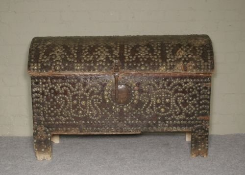 17th c studded leather bound chest on stand
