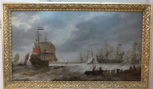 a squadron of dutch warships leaving harbour c1650 attributed to jan peeters