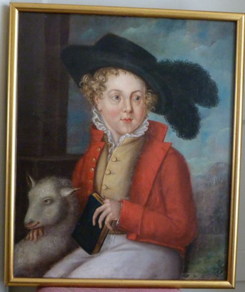 portrait of a boy and lamb c 1825 by f scarfe
