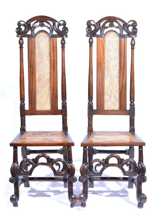 pair of walnut and beech chairs c1710 and later