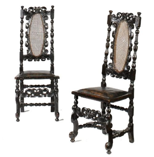pair of william iii ebonised and caned chairs c1700