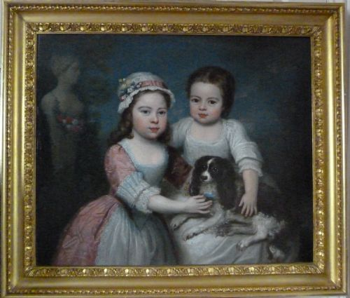 Thumbnail picture of: Portrait of Two Young Girls and Their Spaniel c. 1780, by Charles Willson Peale.
