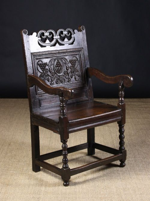 South Lancashirenorth Cheshire Carved Oak Wainscot Chair 16801720 And Later