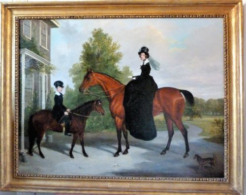 Thumbnail picture of: Portrait of Lady Antrobus and her Son on Horseback c. 1855, by James Loder of Bath.