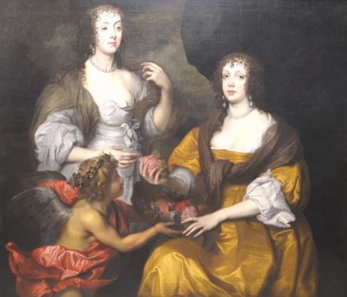 double portrait of elizabeth lady thimbleby and her sister dorothy viscountess andover c1635 studio of van dyck