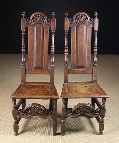 pair of william and mary oak chairs c1700