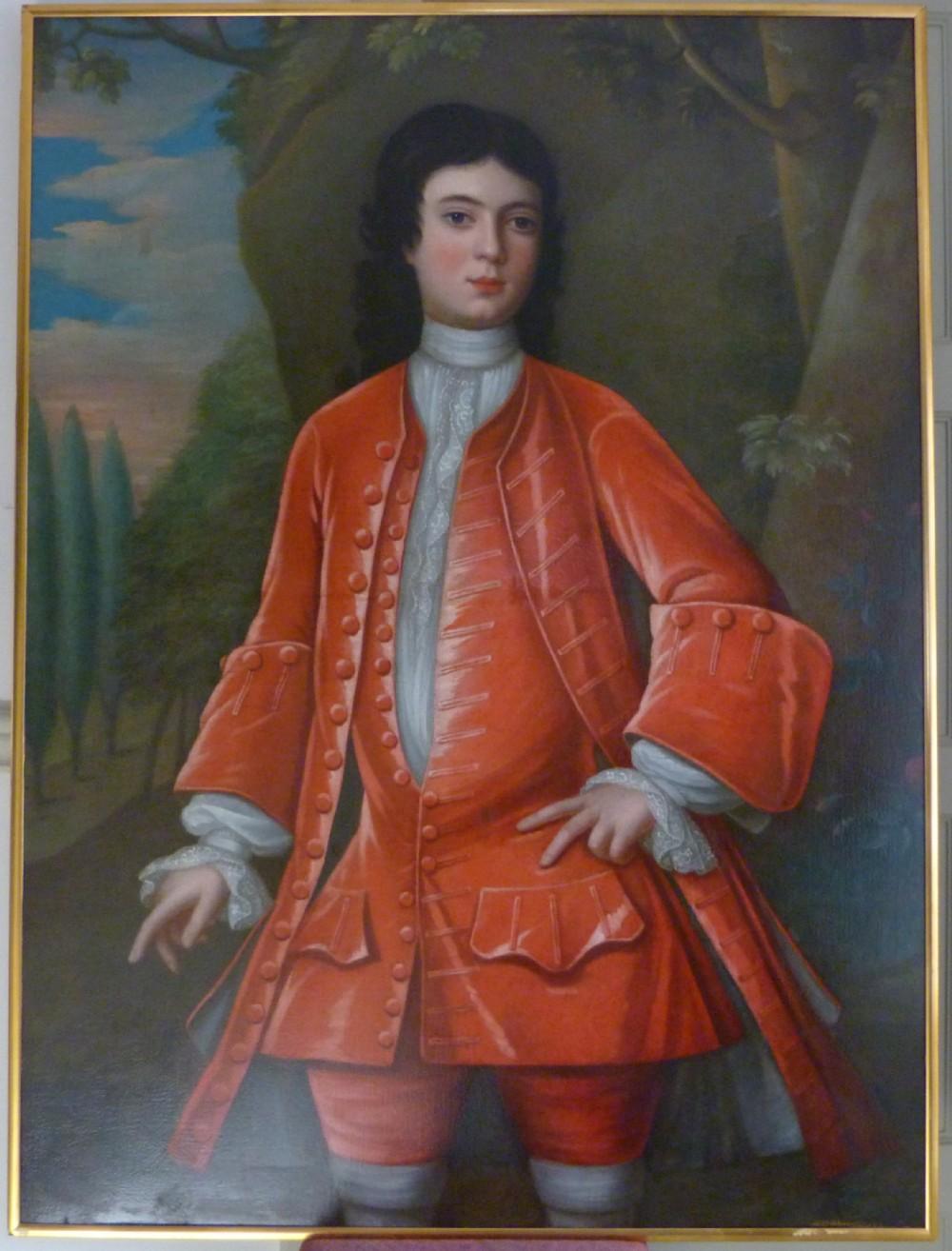 portrait of a boy in red c1720 follower of john verelst