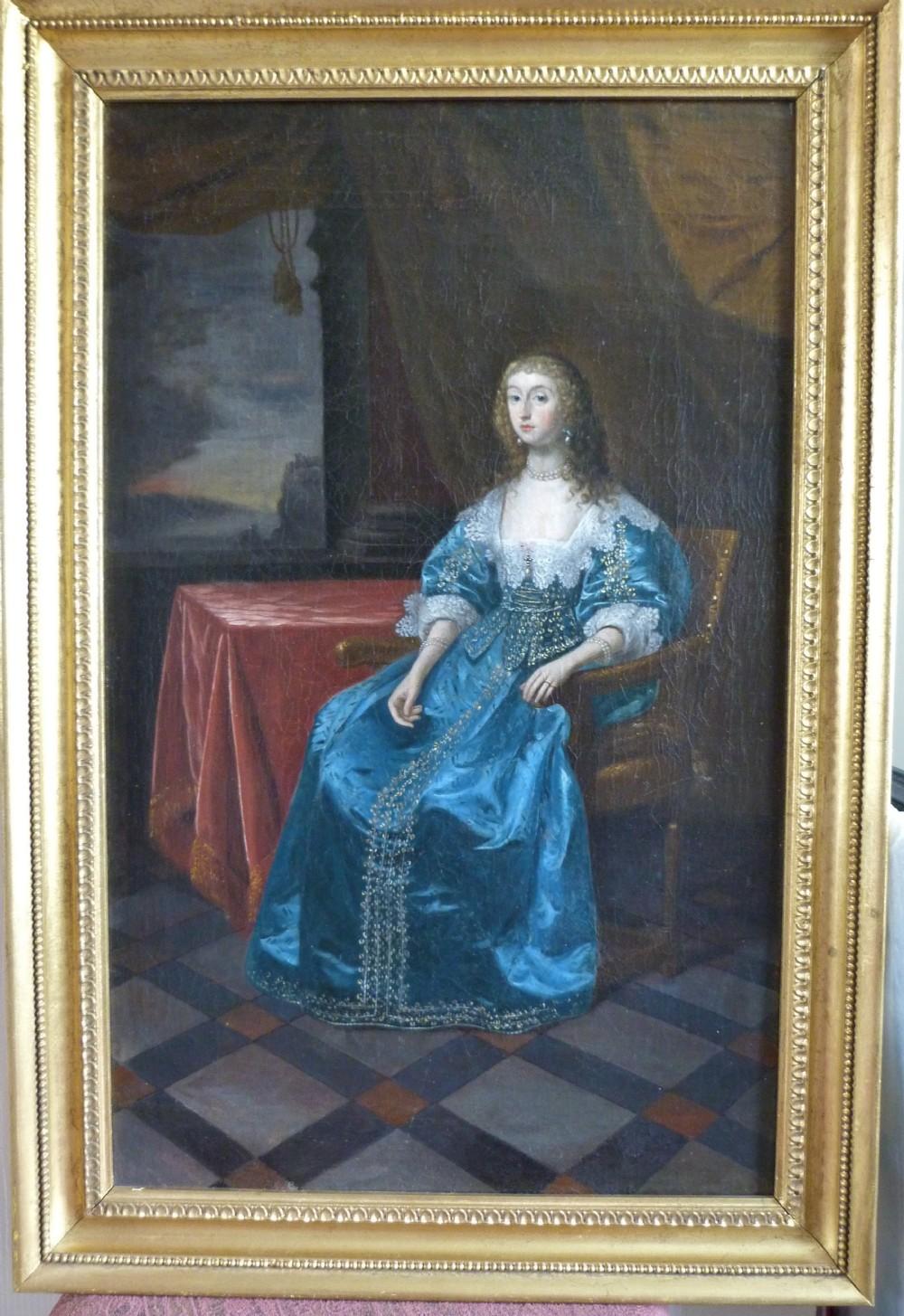 portrait of a noblewoman said to be queen henrietta maria c1640 follower of daniel mytens