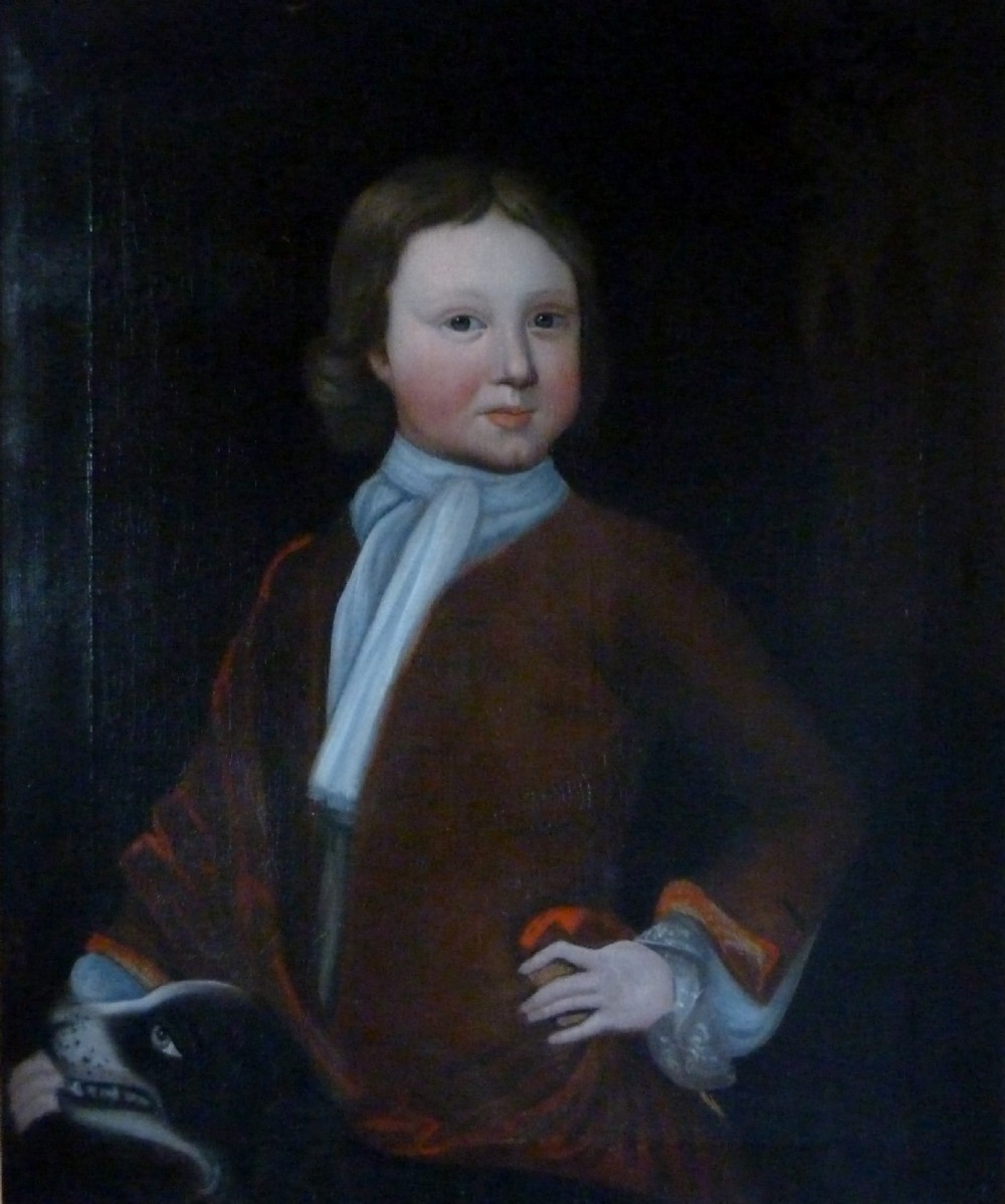 portrait of a boy and dog c1740 english school