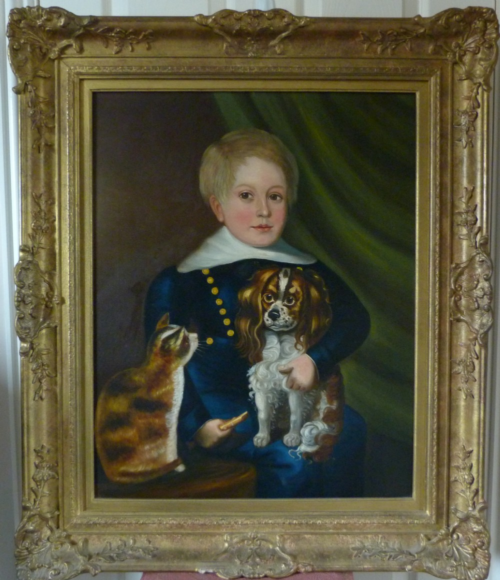 portrait of a boy with his pets c1850 provincial english school