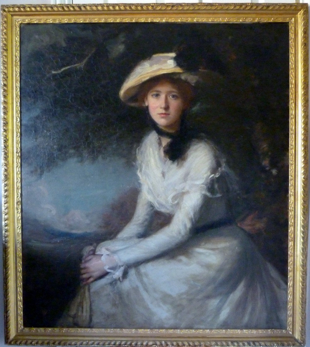 portrait of a young lady in white c1910 by frank w carter rba rp