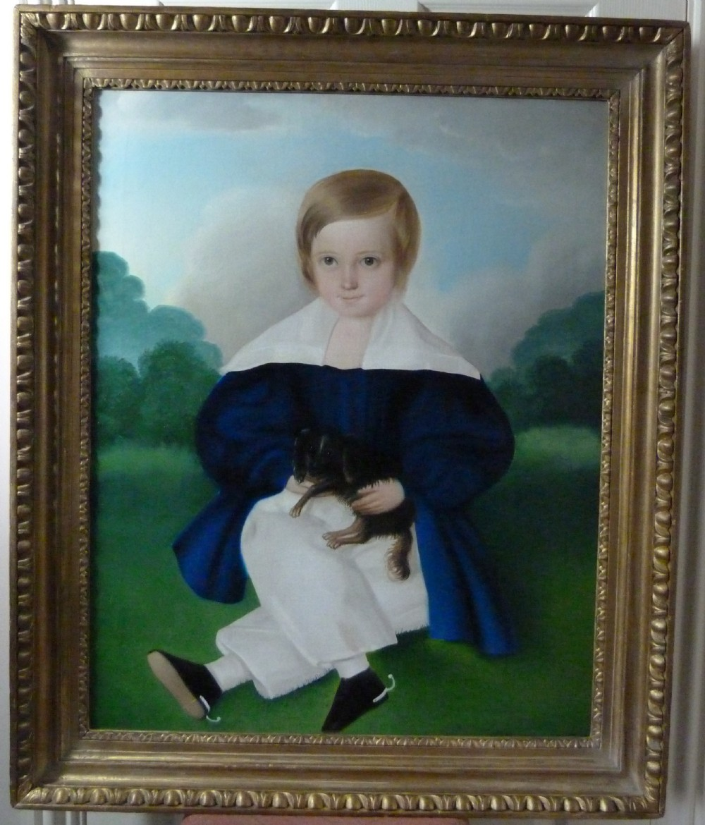 portrait of a young boy and his dog c1850 english provincial school