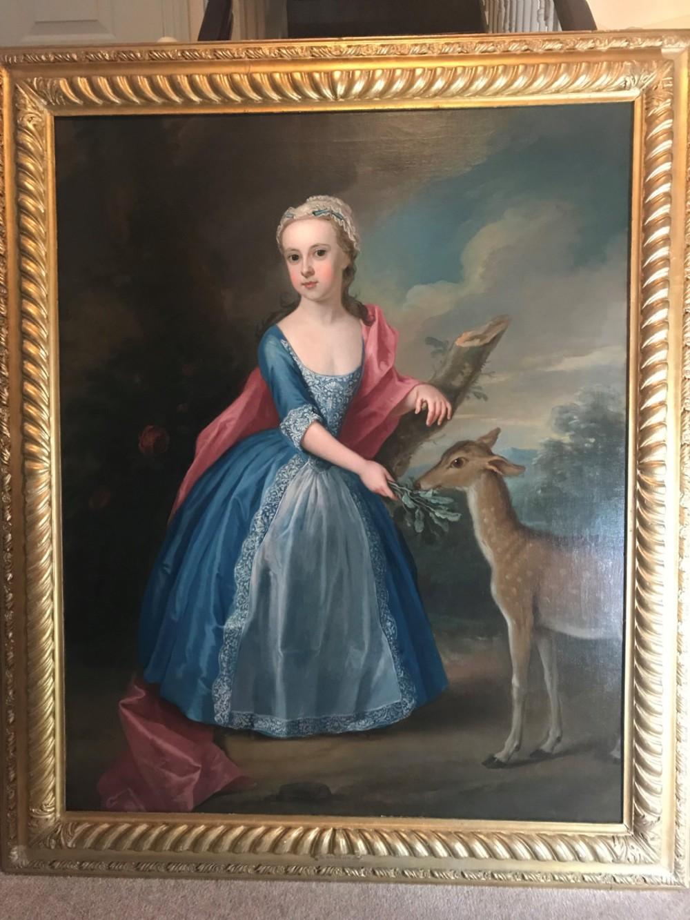 portrait of a girl feeding a deer c1720 by thomas gibson
