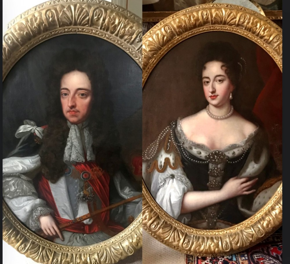 pair of portraits of king william and queen mary after wissing